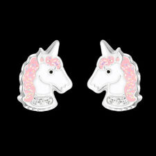 925 Sterling Silver Unicorn Stud Earrings Pink Glitter Crystal Kids Girls Child