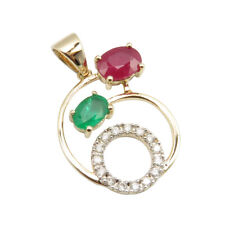 Natural Red Ruby Zambia Emerald Diamonds 14K SOLID YELLOW GOLD 2.55 Gms Pendant