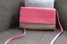 H&M  Pink suede/gold glitter evening bag with patent trim