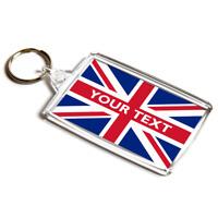 KEYRING - Union Jack Flag - Personalised Custom Gift - Any Name / Any Text