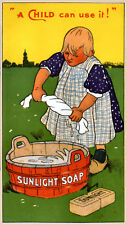 Sunlight Soap reproduction Advertising Poster A4 print child washing
