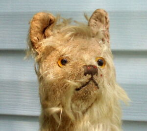 BEAR ? TERRIER DOG ? GERMAN STEIFF ?? PRIMITIVE ANTIQUE STUFFED TOY WITH MOHAIR