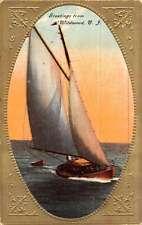 Wildwood New Jersey Sail Boat Greetings Antique Postcard K45099