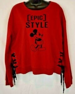 Disney Women's Pullover Sweatshirt Laced Sides Mickey Mouse Epic Style XL Red