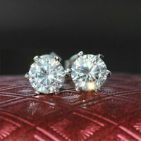 2.00 Ct Round Cut Solitaire Diamond 14k Real White Gold Stud Earrings For Womens