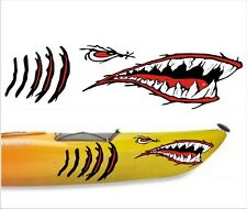 SHARK TEETH MOUTH DECAL gill slits STICKERS KAYAK CANOE HOBIE DAGGER OCEAN boat
