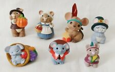 New ListingHallmark Merry Miniatures Thanksgiving Mouse Mice Pilgrim Indian Lot of 7