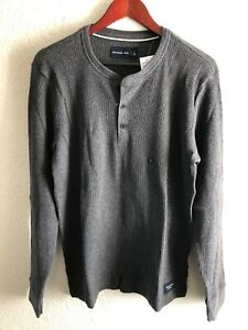 Abercrombie & Fitch Men's Long Sleeve Waffle Henley Size Large NEW