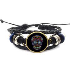 Black Sugar Skull Neon Glass Cabochon Bracelets Braided Leather Strap Bracelet