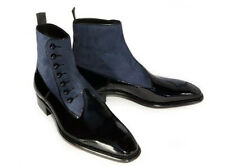 Men's Leather Suede Ankle High Boot Handmade Black Gray Button Top Boots