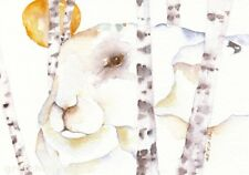 "ACEO Giclee PRINT watercolor 2.5"" x 3.5"" arctic hare totem spirit 'WINTER SUN'"