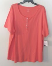 Womens Croft & Barrow S/S Peach/Orange Top/Tee, 3X, 100% Cotton, NWT