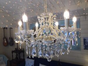 6 Branch Antique Crackle White shallow chandelier. New Free Postage