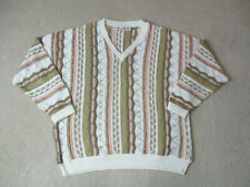 VINTAGE Bachrach Sweater Adult Extra Large White Pink MacGregor Biggie Knit 90s