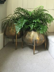 A Pair of Tulip ShapedGold Bronzed Ribbed Metal Planters Flower Pot Holders