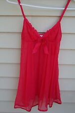 VICTORIA'S SECRET ANGELS Red Sheer Stretch BABYDOLL / NIGHTGOWN Sz S