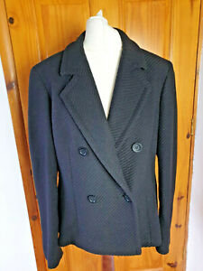 Marks and Spencer Size 14 Smart Black Double Breasted Wool Blend Jacket