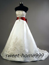 Custom white and red satin embroidery Wedding dress bridal gown Custom all Size