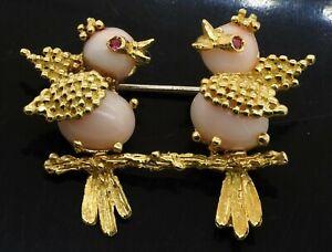 Italian 18K yellow gold elegant unique angel skin coral bird brooch