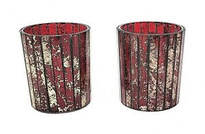 Pair Stained Glass Candle Holder Red Gold Perfect  Autumn Christmas  New