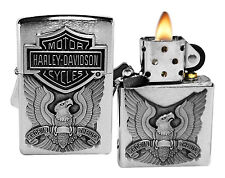 Zippo Lighter 200HD.H284 Harley Davidson emblem Brushed Chrome Windproof NEW