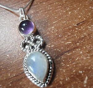 Moonstone Amethyst Infinity 925 Silver Pendant Signifies Infinite Love 10123d