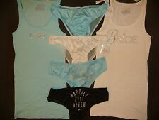 NWT Victoria's Secret BRIDAL TANK+PANTY lot BLUE WHITE I DO crystallized BRIDE L