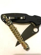 550 Paracord Combo Knife Lanyard Mulch and Gold with Smiling Skull