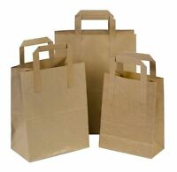 Paper Carrier Bags Brown SOS Kraft Takeaway Party Lunch Food Flat Handles