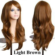 Women Long Cosplay Wig Curly Straight Party Costume Hair Wig Black Red Blonde ag