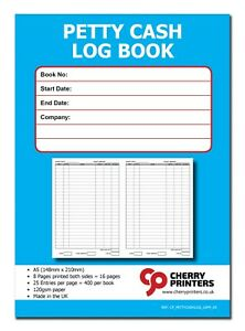 Cherry Petty Cash Log Book A5 16pp