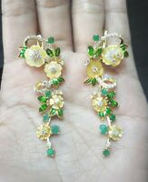 BEST NATURAL EMERALD PERIDOT CHROM DIOPSIDE MOP. CZ -STERLING 925 SILVER EARRING
