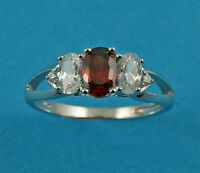 New Ladies Sterling Silver Clear Garnet Oval CZ Ring 6mm UK Size 925 Hallmarked