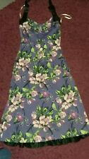 Karen Millen Floral Halter Neck Purple Dress 10 Summer Wedding Party vgc used