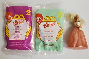 3 Mattel Barbie Vtg 1996 McDonald's Happy Meal Toy #2 & 3 sealed + 1 Loose