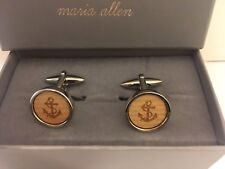 London Nautical Anchor Sailor Recycled Use Silver Metal Cufflinks by Maria Allen