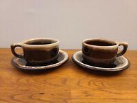 VTG Lot of 2 Pfaltzgraff Gourmet Brown Drip Coffee Cup/Mug & Saucer Sets EUC