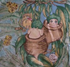 Vintage MAY GIBBS GUMNUT BABIES & Kookaburra Suede Backed Fabric (28cm x 33cm)