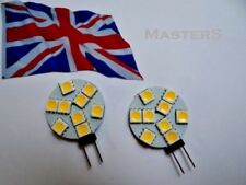 2 x G4 9SMD 5050 12Volt DC 1.8Watt W/White LED Disc Bulbs  - Genuine UK Stock