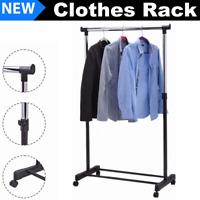 Rolling Metal Clothes Clothing Storage Rack Hanger Shelf Garment Bar Heavy Duty