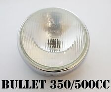 STD ROYAL ENFIELD BULLET 500cc HEAD LAMP LIGHT WITH CHROMED RIM GLASS LENS RIM