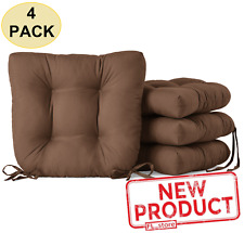 4 PACK Square Chair Seat Cushion Pads W/ Ties Kitchen Dining Room Home Brown NEW