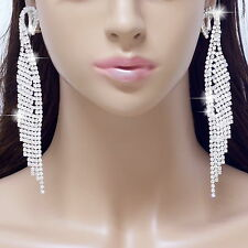 "#E121T 5"" Long CLIP ON EARRINGS Dangle Feather Wing Chandelier Crystal Sexy NEW"