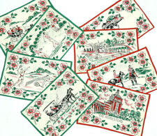 Vintage LINEN NAPKINS handpainted Colonial Images Made In GERMANY
