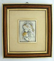 Vintage Mary Jesus Sterling Silver Framed Art Religious Picture Creazioni Italy