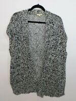 Eileen Fisher Women's black white open front sweater vest Size M