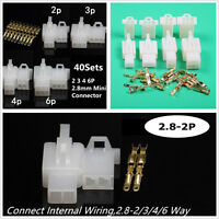 40 Set High Quality Motorcycle ATV 2.8mm 2 3 4 6 Pin Wire Connector Terminal Kit