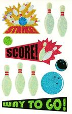 ~ Sparkle Bowling Pins Strike Score Game Ball Way To Go Mrs Grossman Stickers ~