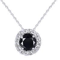 .55CT Black & White Diamond Pave Halo Pendant 14K White Gold Necklace