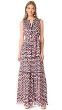 NWT Tory Burch Renata Maxi Dress Navy Belted Spring Summer XL 14 Size 12 $578